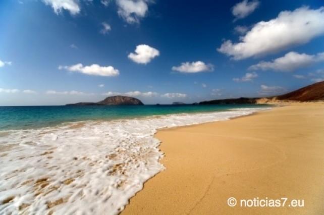 Der Strand los Conchas liegt auf der kleinen Insel Graciosa nahe der deutlich größeren Insel Lanzarote