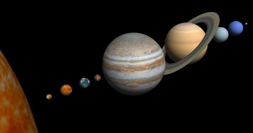 Merkur, Venus, Erde, Mars, Jupiter, Saturn, Uranus, Neptun, Pluto