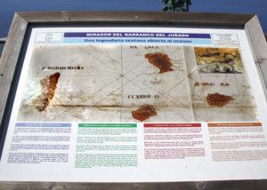 Info-Tafel mit alter Seekarte und der Insel San Borondon