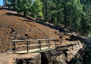 Der Weg führt über eine kleine Holzbrücke hinauf auf den Bergkamm