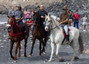 mit schönen Pferden an den Strand