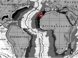 Das geomagnetische Streifenmuster des Atlantikbodens zeigt ein Alter des Krustenstreifens, auf dem die Kanaren liegen, von 180 Millionen Jahren (www.reliefs.ch/geo)