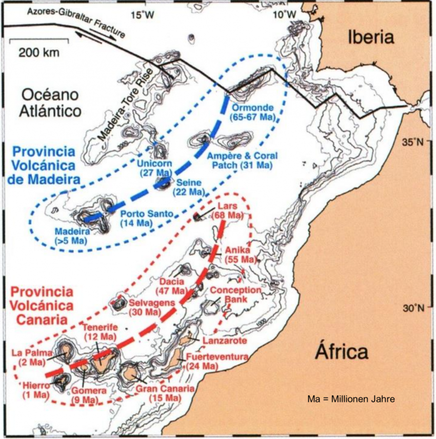 Bathymetrische Karte des Kanaren- und des Madeira-Archipels mit den Inseln und zugehörigen Seamounts. Die fetten Linien markieren die Spur der Hotspots (Hoernle & Carracedo, 2008).