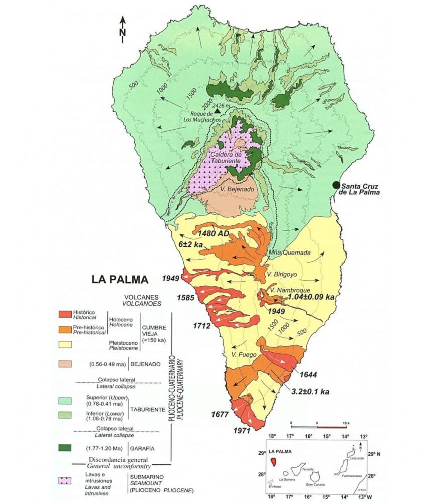 Das Alter der vulkanischen Gesteine und die Datierung der Vulkanausbrüche in den letzten 535 Jahren: Geologische Karte von La Palma mit Kalium/Argon- und 14C-Datierungen. ma = Millionen Jahre, ka = 1.000 Jahre (Carracedo et al., 2001)