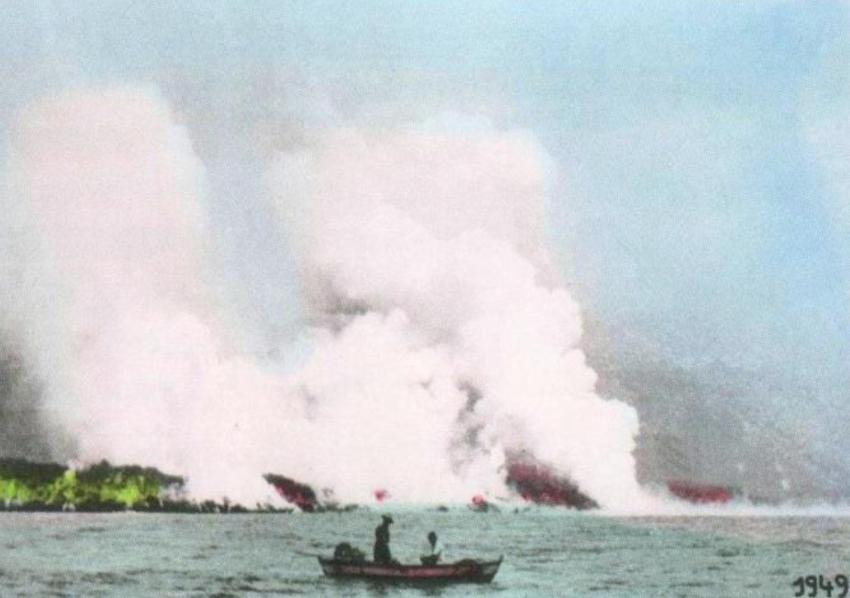 Der Lavastrom des San Juan-Ausbruchs von 1949 bildet die Lavaplattform bei La Bombilla.