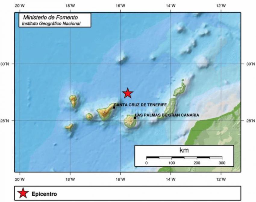 Lage eines aktuellen Erdbebens im Kanarischen Archipel vom 04.09.2015, 09:43 Uhr, mit der Magnitude 2,0 in 38 km Tiefe (IGN)