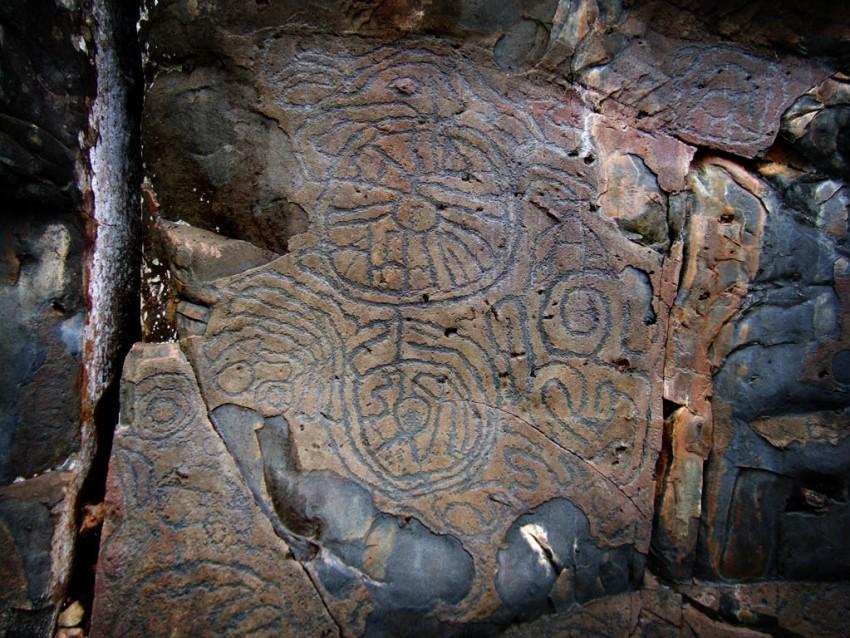 Höhlenmalerei in der Cueva de Belmanco auf La Palma