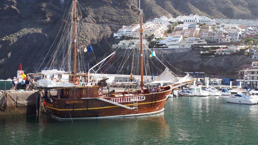 Braunes Segelschiff zur Delfinbeobachtung auf Teneriffa im Hafen