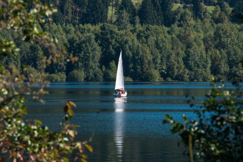 See im Grünen mit Segelboot auf dem Wasser